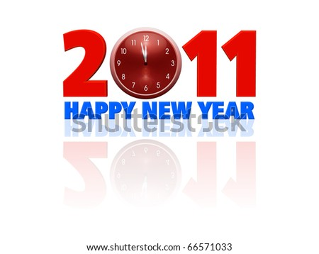 2011 happy new year illustration with clock