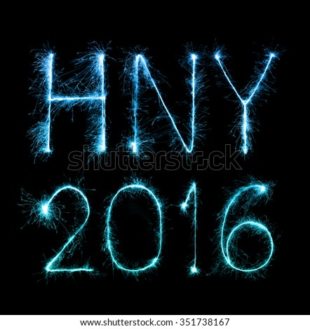 2016 Happy New Year made of sparkles firework at night background