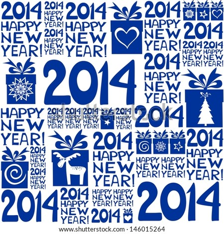 2014 Happy New Year! Seamless blue pattern.  illustration