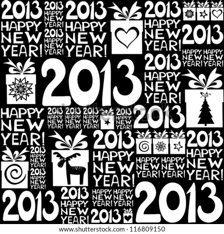 2013 Happy New Year! Seamless pattern. illustration