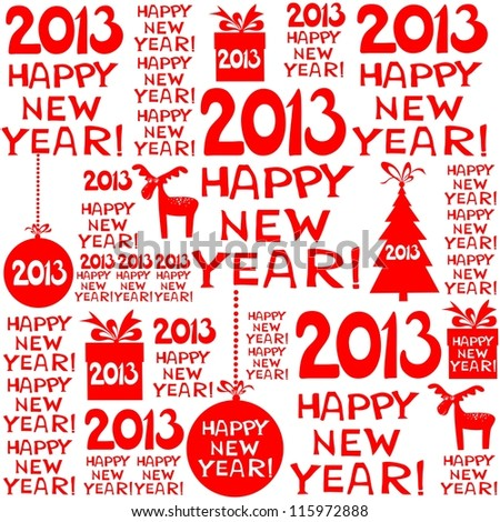 2013 Happy New Year! Seamless red pattern. illustration