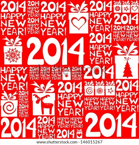2014 Happy New Year! Seamless red pattern.  illustration
