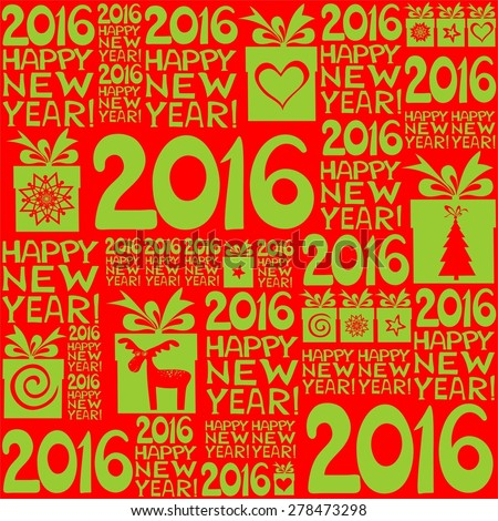2016 Happy New Year! Seamless red pattern. illustration