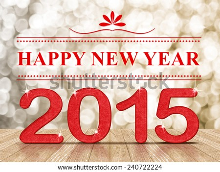 """""""Happy New Year"""" word and 2015 year paper craft number in perspective room with sparkling bokeh wall and wooden plank floor - stock photo"""