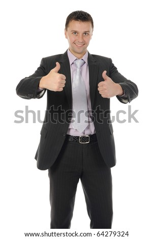happy smiling businessman in a business suit. Isolated on white background