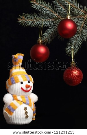 happy snowman and trees branch with red balls
