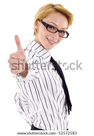 Happy successful businesswoman making thumbs up. Isolated over white background - stock photo