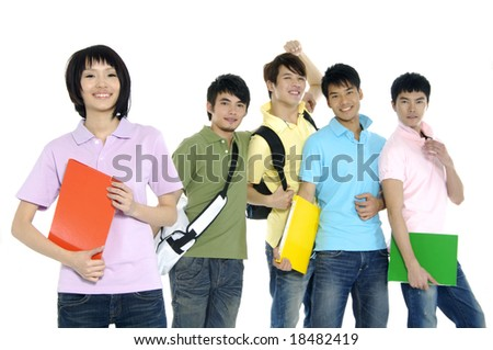 5 happy university students over a white background focus on girl in pink - stock photo