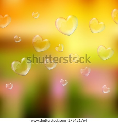 'happy valentine's day' lettering - holiday card with nature background and heart-shaped soap bubbles - stock photo