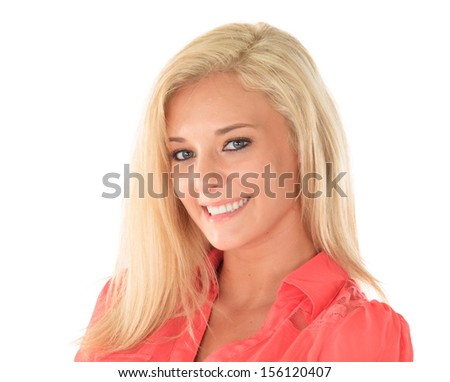 Happy woman with blond hair