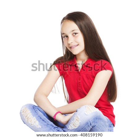 happy 11 years old girl isolated on white - stock photo