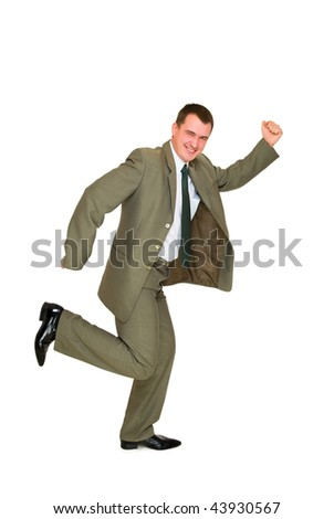 happy young business man on a white background