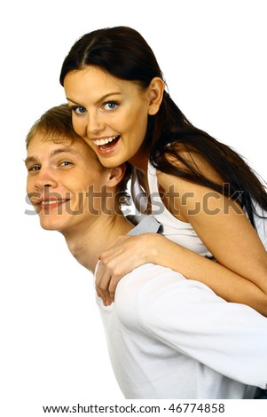 happy young couple, young man and woman embrace and laugh - stock photo