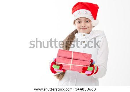 happy young girl with gift box. girl surprised gift  - stock photo