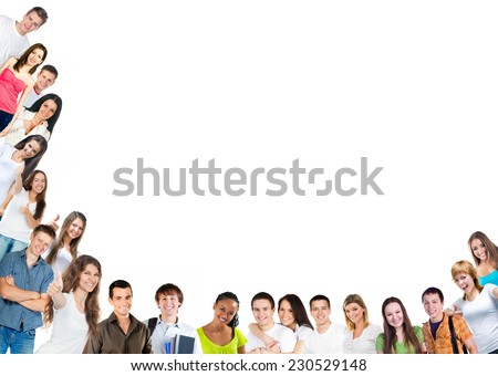 Happy young  people group over white background - stock photo