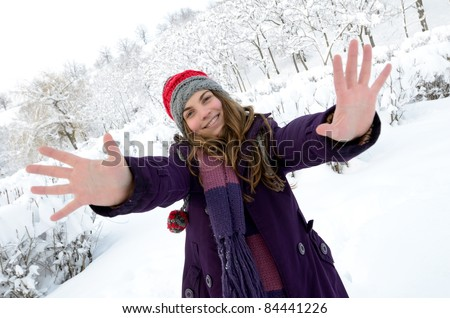 happy young woman outdoor in winter