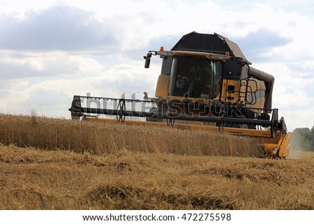 Harvest time in the Cotswolds countryside
