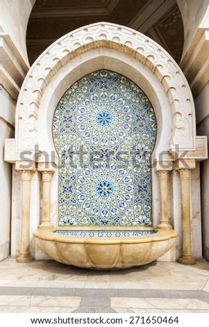 Hassan II Mosque or Grande Mosquee Hassan II in Casablanca, Morocco - stock photo
