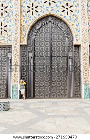 Hassan II Mosque or Grande Mosquee Hassan II in Casablanca, Morocco - stock photo