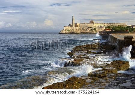 Havana. Cuba.  El Morro Fortress Lighthouse. Travel - stock photo