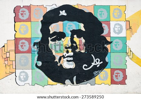 HAVANA-FEBRUARY 05  a graffiti with the portrait of Che Guevara on February 05,2015 in Havana, Cuba. He, was an Marxist revolutionary, physician, author, leader, diplomat, and military theorist - stock photo