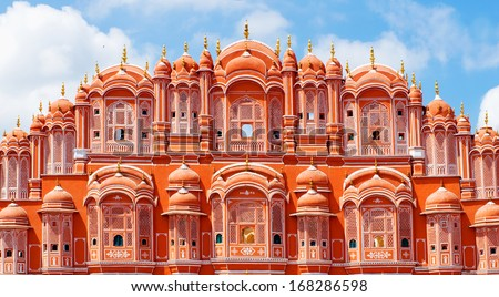 Hawa Mahal palace (Palace of the Winds) in Jaipur, Rajasthan  - stock photo