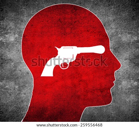 head with white  gun - stock photo