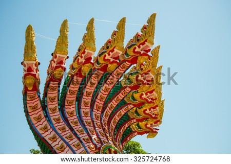 9 headed serpent in Thailand temple, belief - stock photo