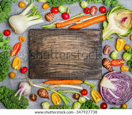 Healthy food background with colorful various vegetables for tasty cooking, top view. Diet or vegetarian eating concept. - stock photo