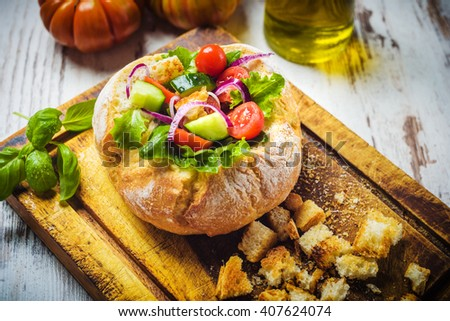 Healthy given panzanella, Tuscan vegetables in the dish. - stock photo