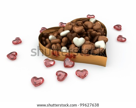 heart box of filled with white dark and milk candy chocolates
