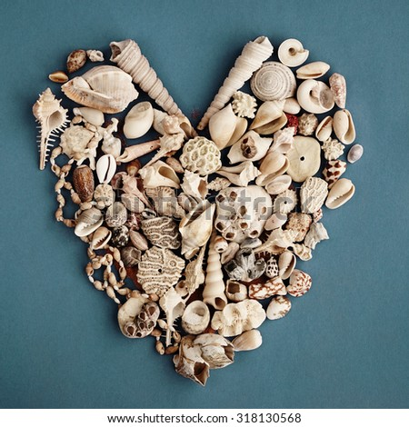 Heart made with seashells , Valentine card                 - stock photo