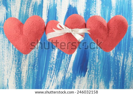 3 hearts red, background, Blue - stock photo