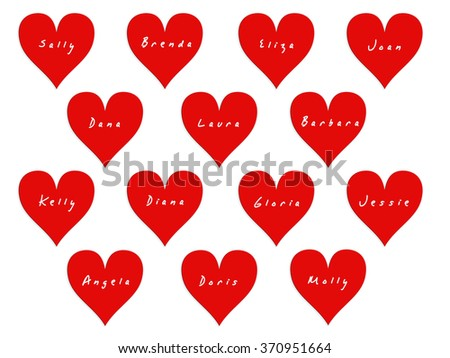 14 hearts with names of women on valentines day white background - Valentines Names
