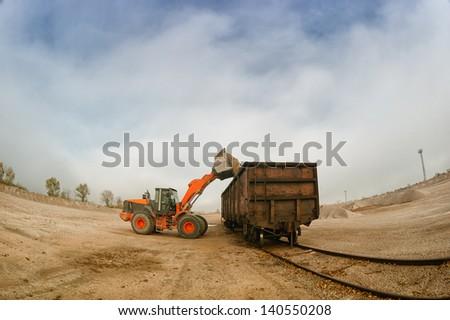 heavy building bulldozer quarry,car - stock photo