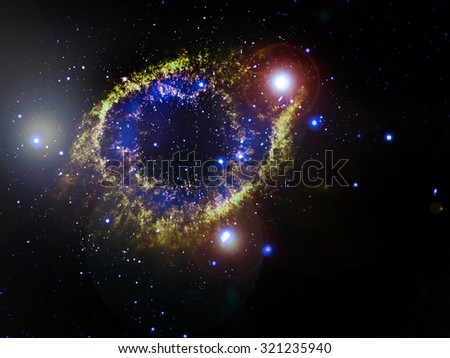 Helix Nebula (NGC 7293), a planetary nebula located 700 light-years away. Elements of this image furnished by NASA - stock photo
