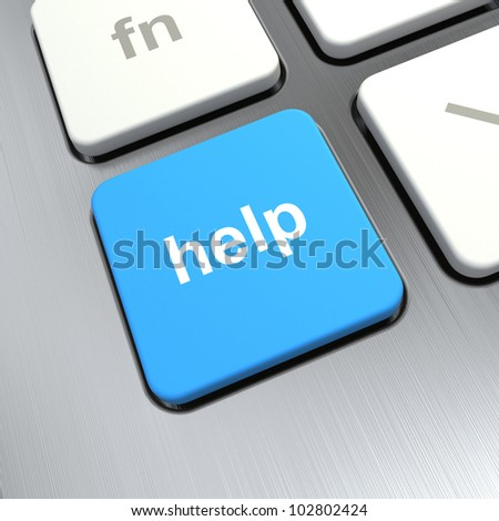 """Help"" text on a button keyboard, 3d render"