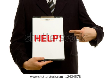 'HELP!' text on clipboard in the hand of a businessman - stock photo