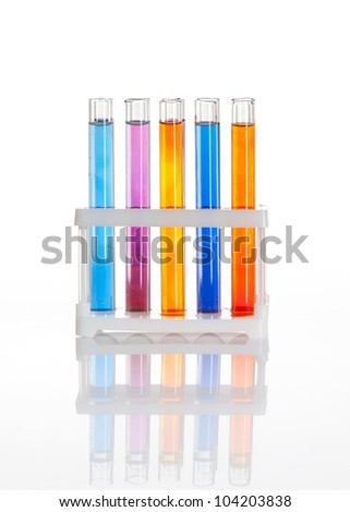 ?hemical flask with a blue laboratory test tubes inside, isolated - stock photo