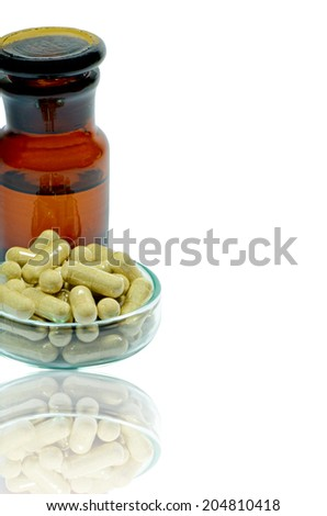 Herbal medicine products with reflection isolated on white background with clipping path.
