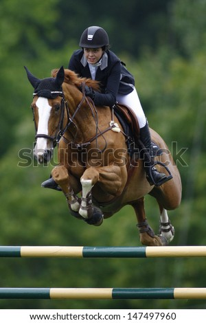 25/06/2011 HICKSTEAD ENGLAND, BALOUFINA ridden by Jessie  Drea (GBR) competing in the Falcon Equine Feeds Derby Trophy at the Hickstead Equestrian meeting held at Hickstead West Sussex England