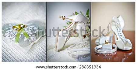 High heels wedding shoes. Rings and wedding accessories isolated - stock photo