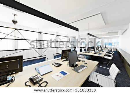 high rise functional contemporary modern business office conference room overlooking a city photo realistic 3d business office modern