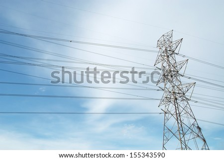 ?High voltage pole with blue sky - stock photo