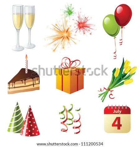 9 highly detailed celebration icons - stock photo