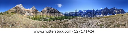 360 Hike To Mount Eiffel Summit, Banff National Park, Alberta, Canada (l-r) Eiffel Mountain, Pinnacle Peak, Mount Temple, Larch Valley, Valley of the 10 Peaks and the Trail back to Moraine Lake. - stock photo