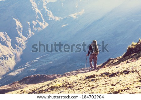 hiking in  mountains - stock photo
