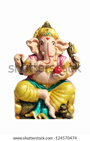 Hindu God Ganesh over a white background - stock photo