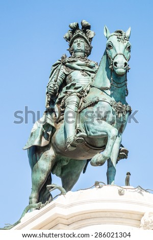 historic equestrian monument of King D.Jose I in Comercio Square in Lisbon, Portugal - stock photo
