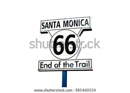 66 historic route sign isolated on white background - stock photo